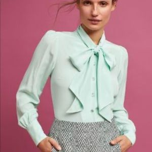 Tracy Reese for Anthropologie silk bow blouse mint